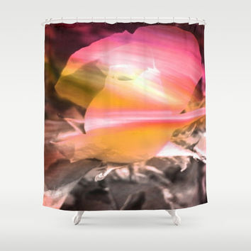 Rose in Gold and Pink Shower Curtain by Jenartanddesign