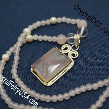 Rose Quartz Necklace Handmade Beaded Rose Quartz Necklace