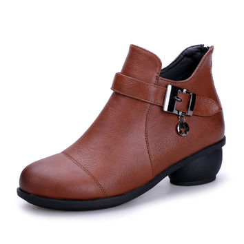 New Vintage Style Genuine Leather Women Boots Flat Booties Soft Cowhide Women's Shoes Front strapped Ankle Boots