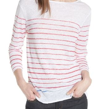Majestic Filatures Stripe Three Quarter Sleeve Tee | Nordstrom