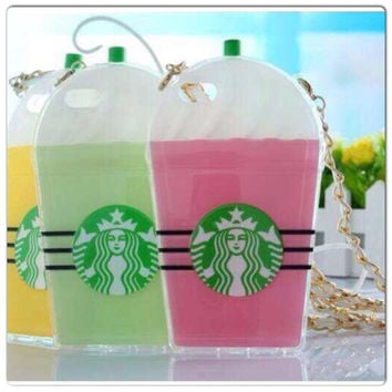 Starbucks Ice Cup Silicone Case for iPhone 5 with Gold Chain - 3 Colors