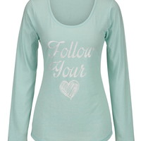 Follow Your Heart Long Sleeve Tee - Light Aqua
