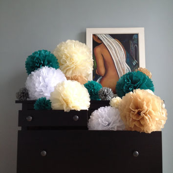 "20 x Tissue Paper Pompoms - Custom Colors - Tissue Paper Pom Pom, Wedding Pompoms Baby Shower Nursery Decor Party Decorations 8"" 12"" 14"" 18"""
