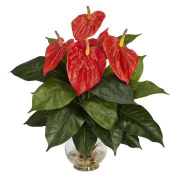 Anthurium w/Fluted Glass Bowl Silk Plant