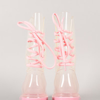 Bumper Danny-01 Jelly Back Lace Up Rain Boot