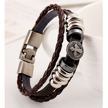 Vintage Star Anchor Skull Bead Bracelet Woven Punk Leather Bracelet For Men Jewelry Hip-hop Multilayer Braid Wrap Bangle