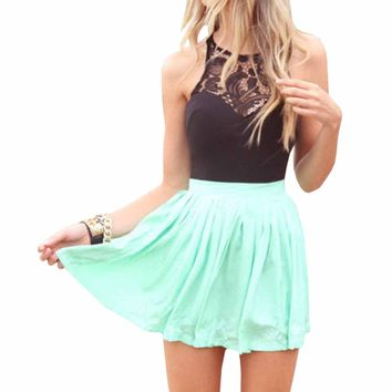 SUNNOW Womens Summer Sleeveless Lace Top Short Skater Pleated Dress Party Mini Dress