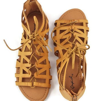Cinque Terre Cage Sandals in Brown