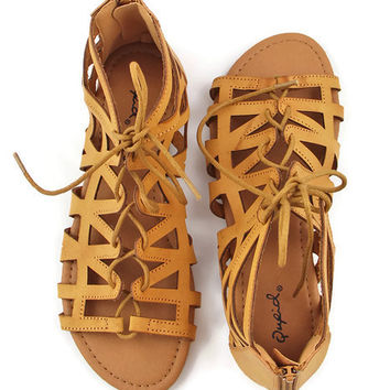 WEB EXCLUSIVE: Cinque Terre Leather Cage Sandals in Brown