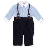 Dress Shirt, Pinstripe Pants & Suspender Set, Race Blue, 3-12 Months - Ralph Lauren Childrenswear
