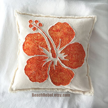 Hibiscus flower applique pillow cover in orange leaf batik and natural distressed denim boho pillow cover 18""
