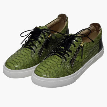 Green Faux Snake Skin Sneakers