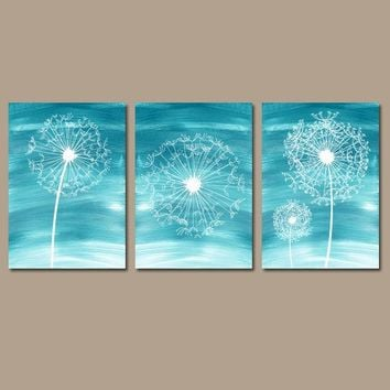 DANDELION Wall Art, Dandelion Decor, Ombre Teal Bedroom Pictures, CANVAS or Prints, Dandelion Bathroom Decor, Dorm Room Decor, Set of 3