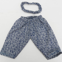 American Girl Bitty Baby Clothes 15 inch Doll Clothes Blue White Floral Pants and Headband Fall Autumn Fashion