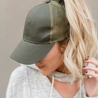 Messy Bun Baseball Hat - Olive Mesh