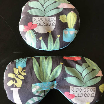 Succulent Print Turquoise Flax Seed Eye Mask and Circle Heat / Cold Compact
