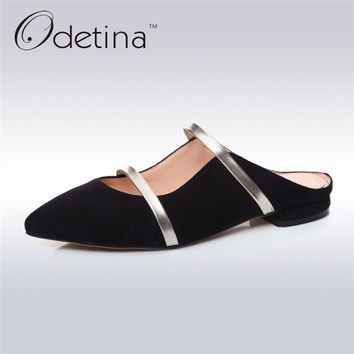 Odetina 2017 Genuine Leather Fashion Summer Half Slippers Women Mules Single Shoes Lady Slingback Pumps Low Heel Big Size 33-43