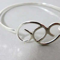 Sterling Silver Hook And Latch Bangle Bracelet handcrafted