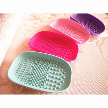 Soap box Shape Silicone Makeup Brush Cleaner Washing Gloves Convenient Models Pad Washing Scrubber Board Cleaning Mat Hand Tool