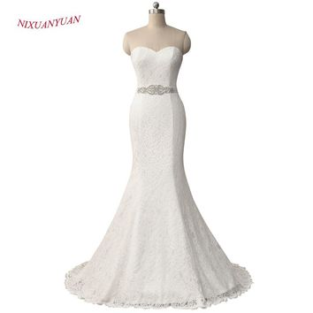 NIXUANYUAN 2017 New Elegant White Ivory Lace Wedding Gown Real Satin Mermaid Wedding Dress 2017 Vintage Sash vestido De noiva