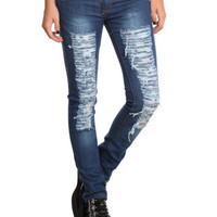Puzzle Distressed Medium Wash Skinny Jeans | Hot Topic