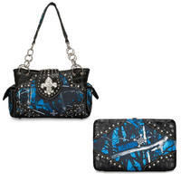 Moon Shine Camo Fleur De Lis Purse and Wallet Set
