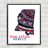 Ole Miss Team Print, Rebels Art Print, Ole Miss Art, Go Rebels, University of Mississippi