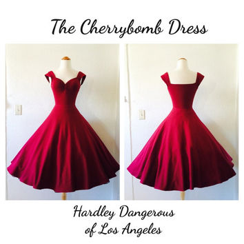 CLEARANCE Sale, Burgundy Wine Cherrybomb Stretch Knit Swing Dress, Lightweight Summer Day Dress with Capped Sleeves, Full Circle Skirt