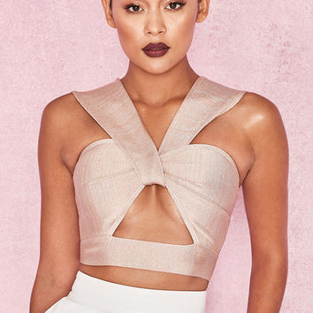Clothing : Tops : 'Ermina' Taupe Lurex Bandage Crop Top