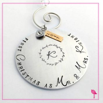 """First Christmas as Mr. & Mrs"" Hand Stamped Ornament by Bling Chicks"
