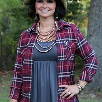 Cute as a Button Maroon and Navy Plaid Flannel Long Sleeve Shirt
