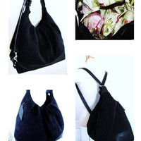 Solid Black canvas with leather convertible bag