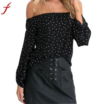 Off Shoulder Summer Blouse Chiffon  Long Sleeve Polka Dot Printrd Pullover  Shirt