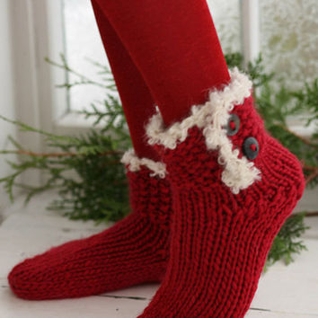 knit socks Wool socks. Xmas socks. Christmas socks. knitted socks. gift to a woman. Women's socks. Santa's Socks