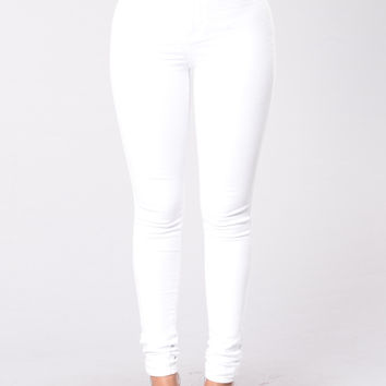 Super High Waist Denim Skinnies - White