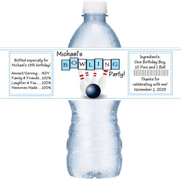 Bowling Party Water Bottle Labels