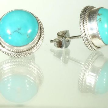 Sterling Silver Round Turquoise Gemstone Stud Earrings
