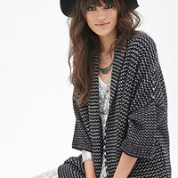 FOREVER 21 Two-Tone Knit Cardigan Black/Cream