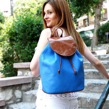 ON SALE Brown & Blue Leather Backpack, Blue Leather Bag