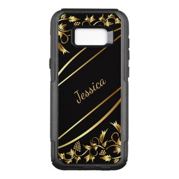 Black with chic gold colored classic decor name OtterBox commuter samsung galaxy s8+ case