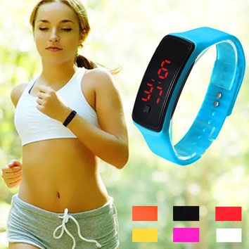 Casual Touch Screen LED Bracelet Watch Ultra Thin Girl Men Sports Silicone Digital LED Wrist Watches Women Montre Femme Clock