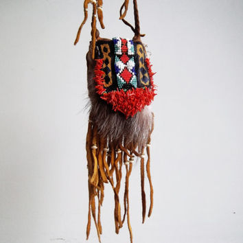 Medicine Bag: Native American Medicine pouch, Leather Pouch, Satchel, Hippie Style, leather necklace, Boho Style, Bohemian, Tribal style