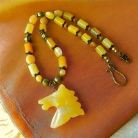 Golden Jade Horse Head Carving on Bronze and Gold Jade Bead Necklace | craftsofthepast - Jewelry on ArtFire