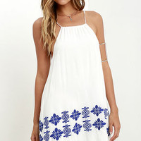 Joyous Occasion Blue and Ivory Embroidered Dress