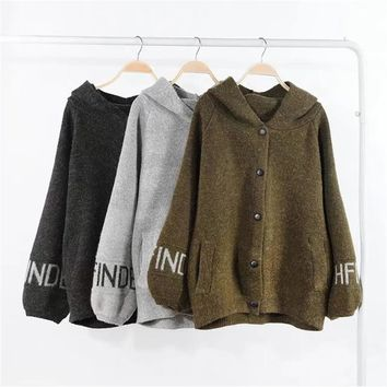 Plus size Casual Hooded Long sleeve Loose women basic coats 2017 new Patch Designs autumn wool bomber jacket women