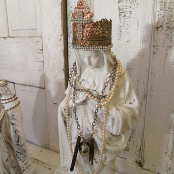 White Virgin Mary statue detailed lightweight French Nordic Madonna adorned with handmade crown and jewelry anita spero