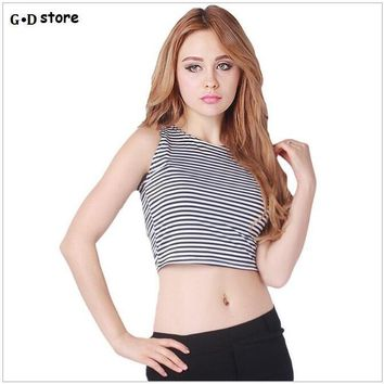 Striped crop top american apparel cropped tank top Sleeveless Sexy crop tops woman's clothing brand design tank latinas t shirt