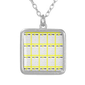 Happy New Year 2016 Cute Smiley Calendar Square Pendant Necklace