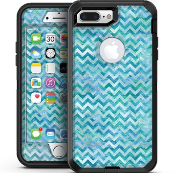 Aqua Basic Watercolor Chevron Pattern - iPhone 7 Plus/8 Plus OtterBox Case & Skin Kits