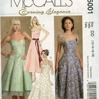 McCalls m5001 Pattern Strapless Dress w Petticoat Prom Bridesmaid Party 12-18